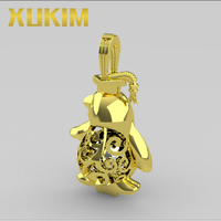 Xukim Jewelry 925 Sterling Silver Gold Silver Penguin Locket With Graduation Hat Pearl Cage Pendant Necklace