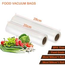 20 cm und 28 cm 2 Größen von Lebensmitteln Aufbewahrungsbeutel Vakuum Wärme Sealer Lebensmittel Lagerung Taschen Wrapper Speisen Film Roll Für Küche Verpackung