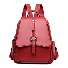 2019 New Fashion Women Leather Backpacks Vintage Female Shoulder Bag Ladies Backpacks For School Teenagers Girls Mochila Mujer цена