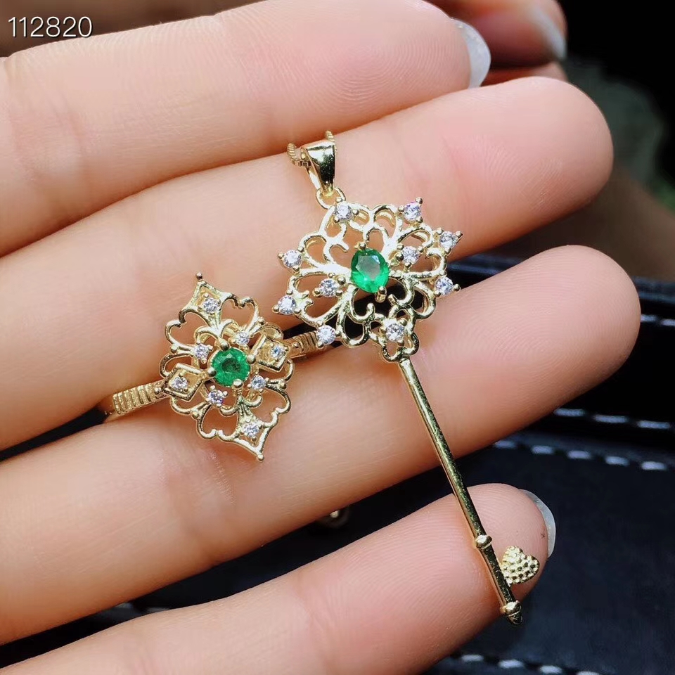 Natural verde esmeralda S925 Conjunto Pingente anel de prata Jóias de pedras preciosas naturais Restaurar Esvaziamento chave Adorável party girl jewelry - 4