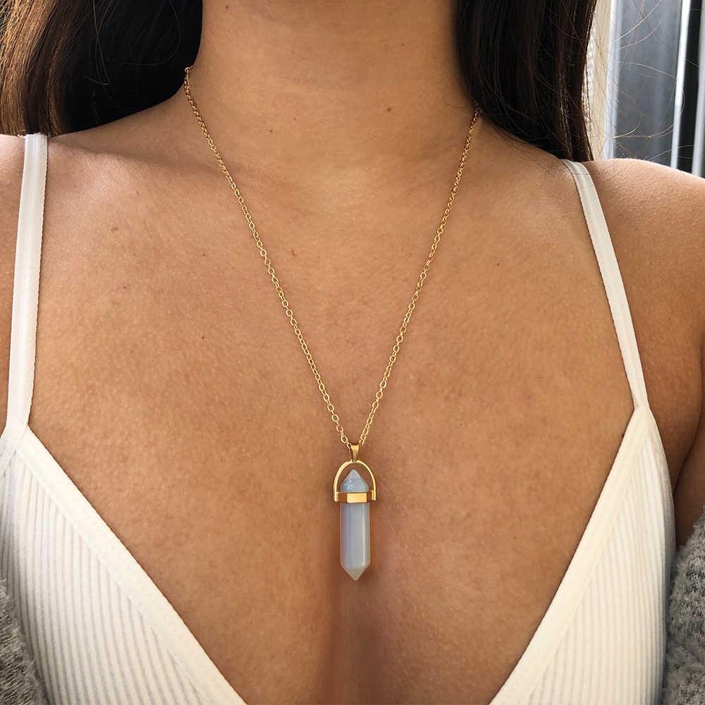 Hot sale Hexagonal Column Quartz Necklaces Pendants Fashion Natural Stone Bullet Pink Crystal Pendant Necklace For Women Jewelry