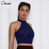 CWLSP Suede Tank Top Women Cross Lace Up Sexy Back Zipper Crop Tops Halter Casual Off