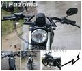 "PAZOMA Bright Black Motorcycle Clubman 1 1/4"" Crazy Z Bars Chopper Handlebars Fit For Harley Honda Grips"