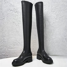 2019 Slim Leg Creepers Women Black Genuine Leather Elastic Stretch Over The Knee Boots Punk Long Sneakers Goth Oxfords Shoes