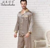 3XL мужские шелковые пижамные комплекты Длинные рукава мужские шелковые пижамы Штаны пятно пижамные комплекты Большие размеры