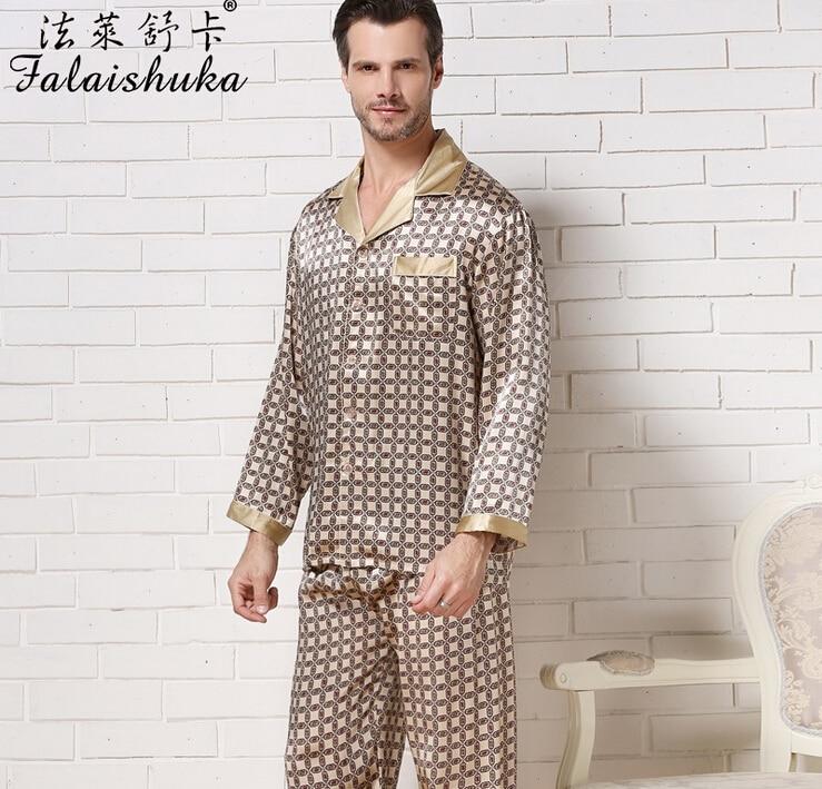3XL Mens Silk Pajama Sets 2019 Long Sleeve  Man  Silk Pajamas Male Silk Pajama Pants Stain Pajama Two Piece  Sets Plus Size