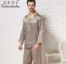 3XL мужские шелковый pajama наборы с длинным рукавом шелковые мужские пижамы мужские шелк пижамы брюки пятно pajama наборы плюс размер