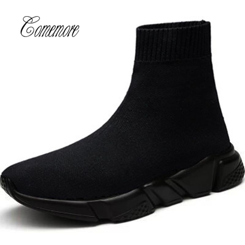 Comemore Socks Sneakers Training-Shoe Sports-Shoes Tennis High-Top Black Women