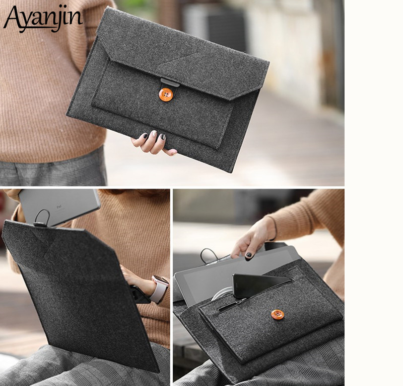 Felt Sleeve Laptop Bag 15.6 Case For Macbook Air 13 Pro Retina 11 12 New 15 Touch Bar For Xiaomi Mi Notebook 13.3 Cover