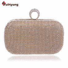 New font b Women s b font Rhinestone Ring Buckle Clutch Double sided Full Diamond Hard