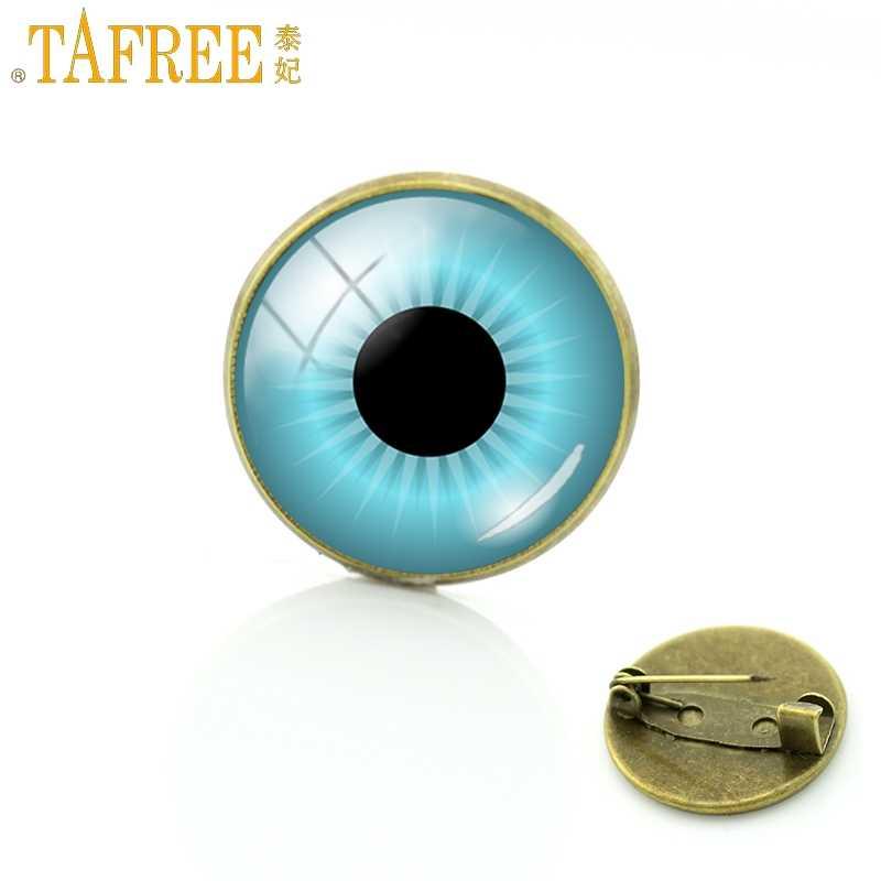 Tafree Fashion Trendi Biru Yang Indah Mata Kepribadian Bros Kaca Cabochon Dome Unisex Lencana Perhiasan FQ558