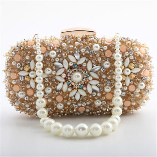 9ee06622011e Luxury Handmade Flower Beaded Clutch Bags Women s Crystal Evening Bag  Wedding Bride Hand Bag Small Purses