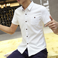 2017 Casual Men Shirts Short Sleeve Solid Slim Hong Young Shopkeeper Wind Trend In 108 Shirt White Light Blue 5108
