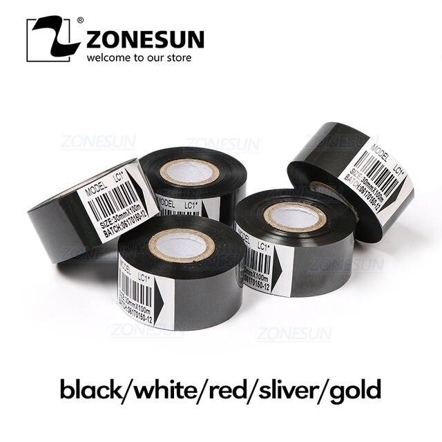 ZONESUN cinta térmica de la máquina de impresión 30*100 m cinta de código de fecha cinta de impresión de accesorios para plástico y de papel