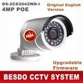 Versão inglês Hik 4MP IP bala câmera Ao Ar Livre à prova d' água até 30 m faixa de IR WDR com firmware atualizável HD web cam rede