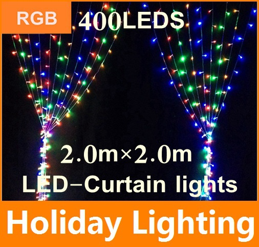 2*2m led Curtain net string light Garden Plaza outdoor decoration 110V 220V 400leds christmas Holiday Decoration Lighting