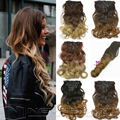 """1Set 16 Clips Hair Extension 20"""" 50cm 7pcs/set Natural Hairpiece Hair Piece Wavy Curly Synthetic Clip In Hair Extensions B40"""