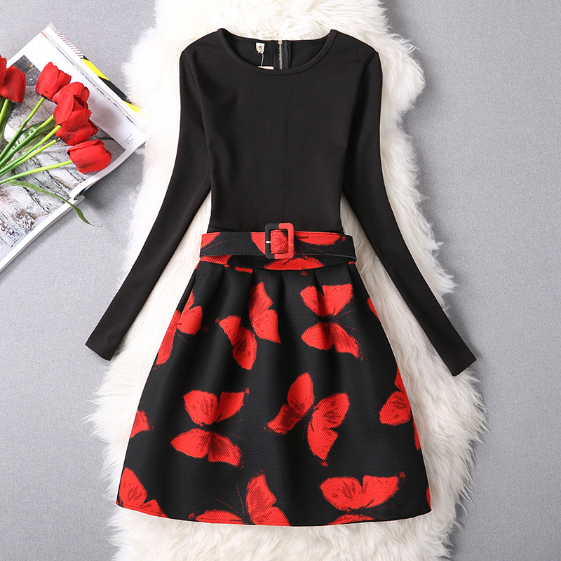 Teenager Girls Rose Pattern Dress 2018 New Autumn Winter Flower Girl Dresses Long Sleeve Clothes For Toddler Children Clothing baby girls knitted sweater clothing dress 2017 autumn winter new long sleeve cute cartoon pattern girl dress children clothes