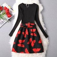 Teenger Girls Rose Print Dot Pattern Dress 2016 New Autumn Winter Long Sleeve Knee Length Clothes