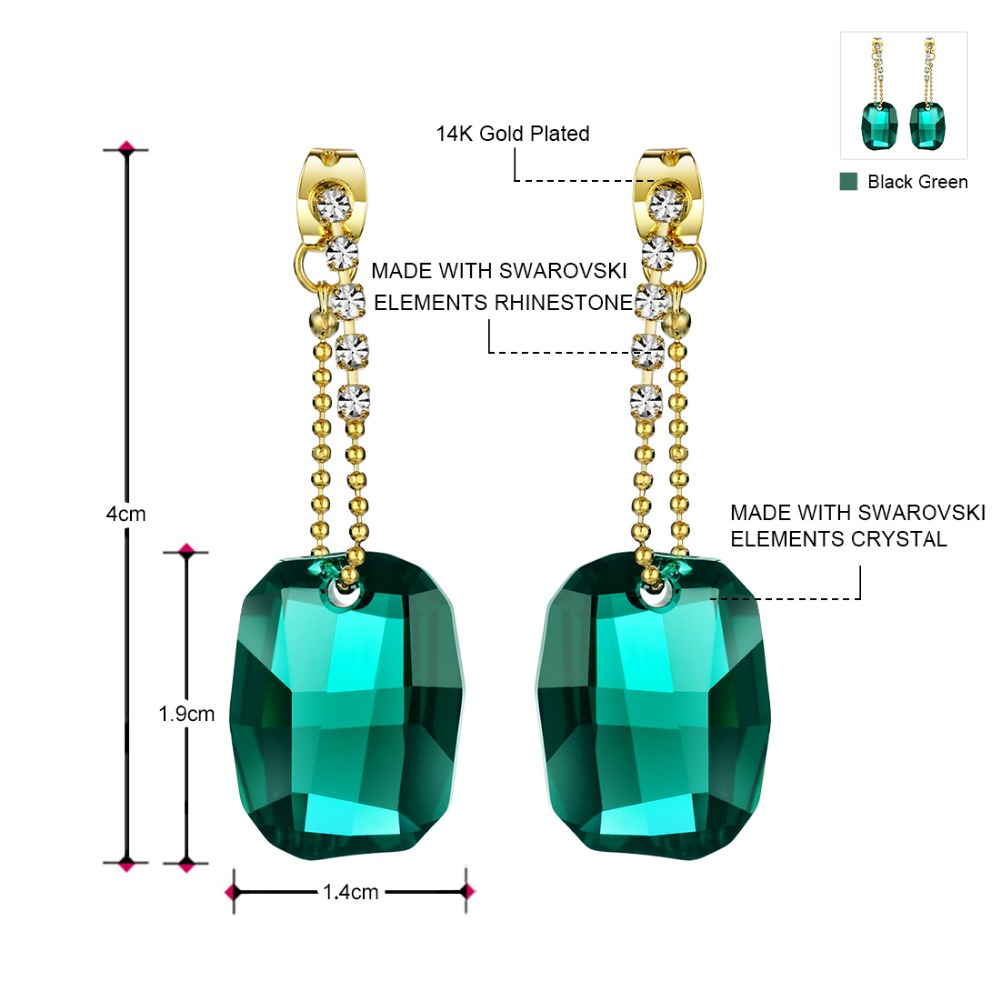 Neoglory Made With Swarovski Elements Crystal Chandelier Drop Earrings For Women 2018 New Indian Style Green Jewelry Ms In From