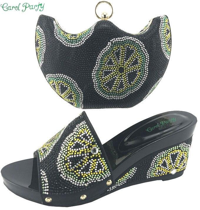 New Arrival Ladies Italian Shoes and Bag Set black Color Shoe and Bag Set African Sets Women Shoe  ME7708 alto mick dual shoe bag black