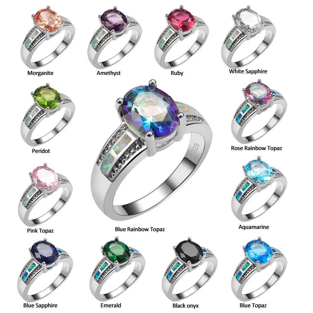 זירקון קריסטל ורוד עם לבן אש אופל 925 טבעת כסף גודל 6 7 8 9 10 R1462 תכשיטים יפים