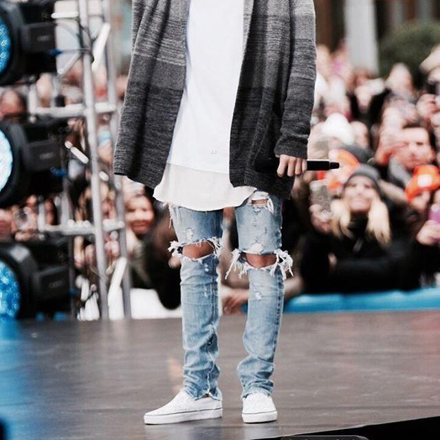 68bb39fc864 kanye west denim jumpsuit designer clothes rockstar justin bieber ankle  zipper destroyed skinny ripped jeans for men fear of god-in Jeans from Men's  ...