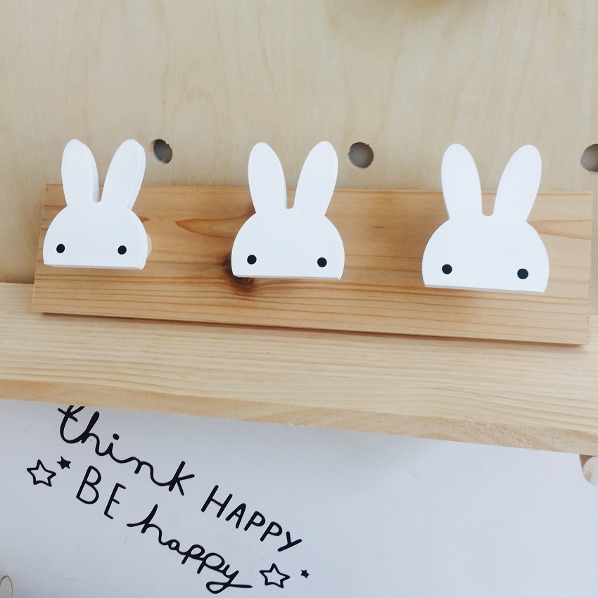 Cute wooden bunny hook rail for kids room wall decorate ECO hanger hook for kids birthday present
