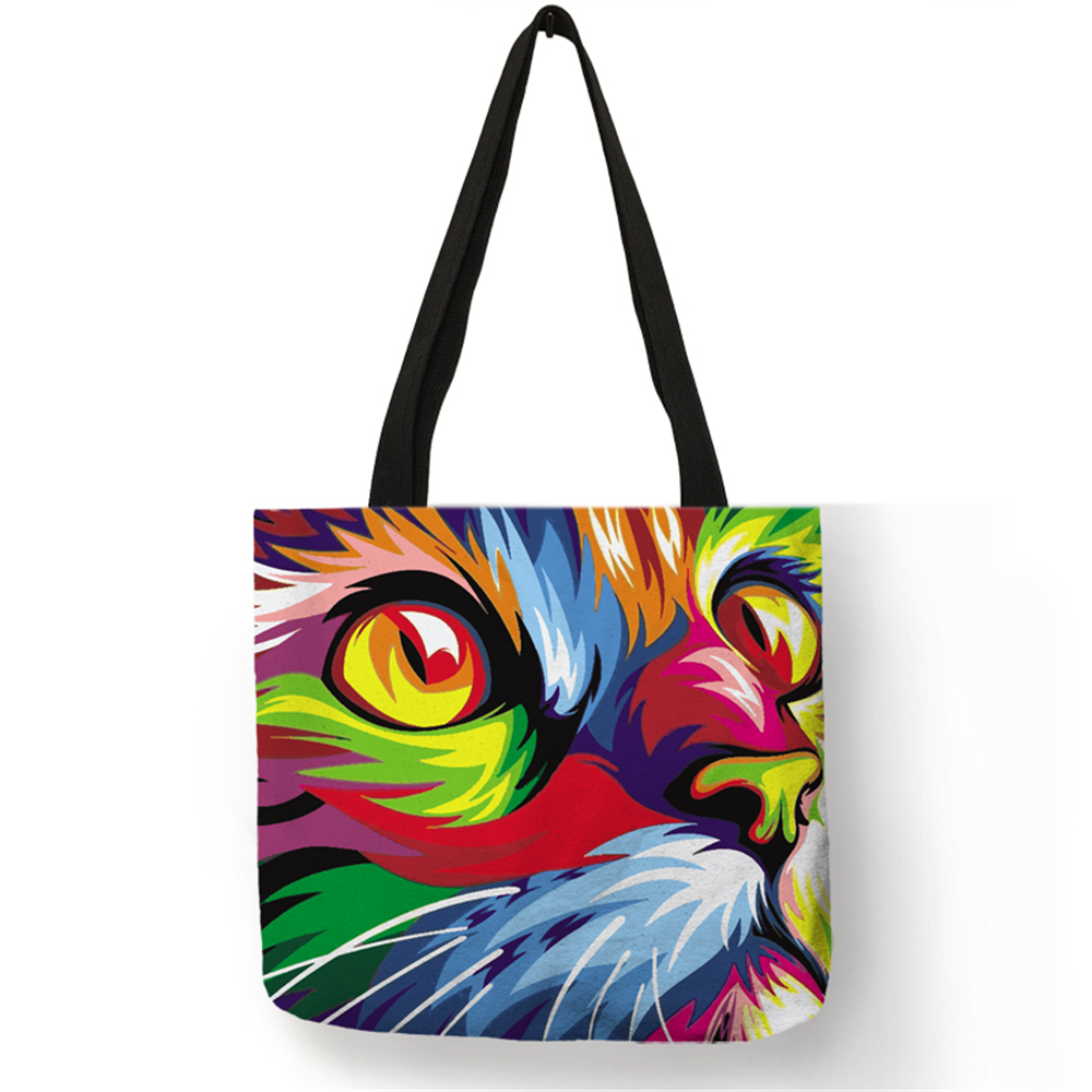Colorful Cat Oil Painting Tote Bag With Customized Print Women Fashion Linen Handbags Reusable Shopping Bags Traveling School tote bag