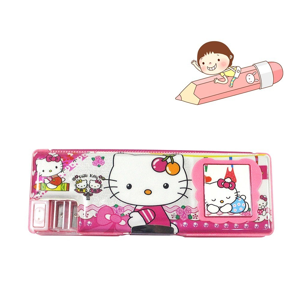 VC0400006 Cartoon Creative Durable Fine Stationery Box Multifunction Double Children Pencil Case Two Pencil Sharpener Calculator