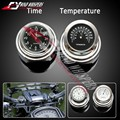 22 25mm Motorcycle Accessory Handlebar Mount Clock Watch Thermometers Waterproof Fits Kawasaki Yamaha Harley Suzuki Honda Ducati
