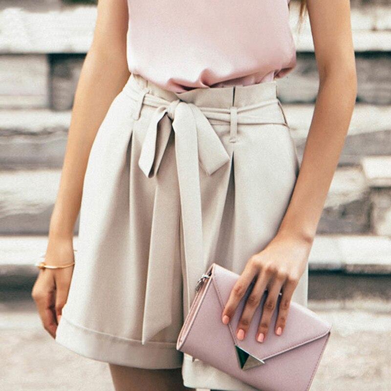 Elegant High Waist Sashes   Shorts   Women 2019 Summer Apricot Harajuku Pockets Summer   Shorts   Vintage Ladies Mini   Shorts   Femme