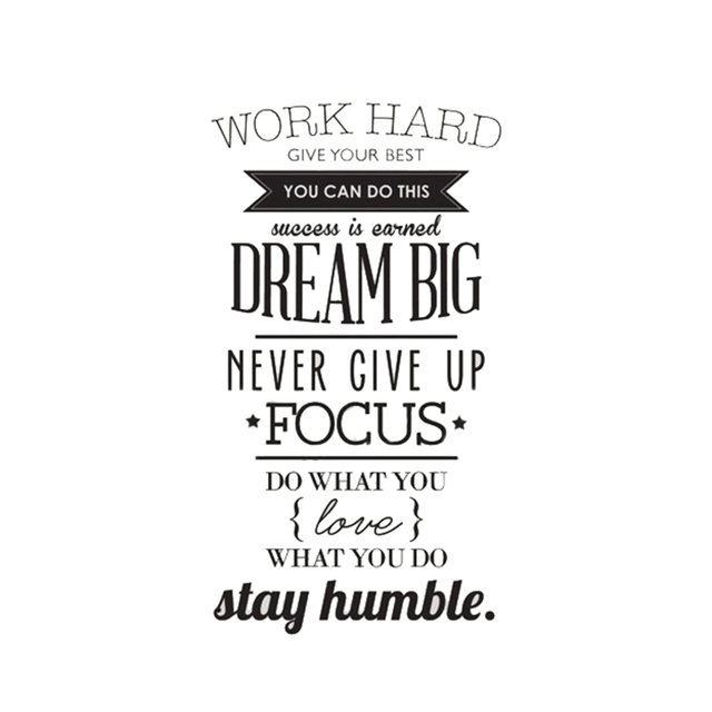 WORK HARD DREAM BIG Quote Wall Sticker Office Inspirational Decal Removable  PVC
