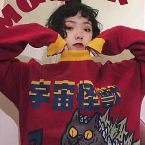 Image 3 - Harajuku Fashion Knitted Women Sweater Cartoon Monster Embroidery Student Sweater Coat Loose Retro Hit Color Pullover Sweater