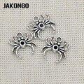 Подвеска-паук из античного серебра JAKONGO для изготовления ювелирных изделий, браслетов, аксессуаров «сделай сам», 17x15 мм, 20 шт./лот