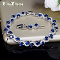 BlingZircons Charming Dark Blue Crystal Women Tennis Bracelets with Cubic Zirconia Stone 925 Sterling Silver Jewelry B016