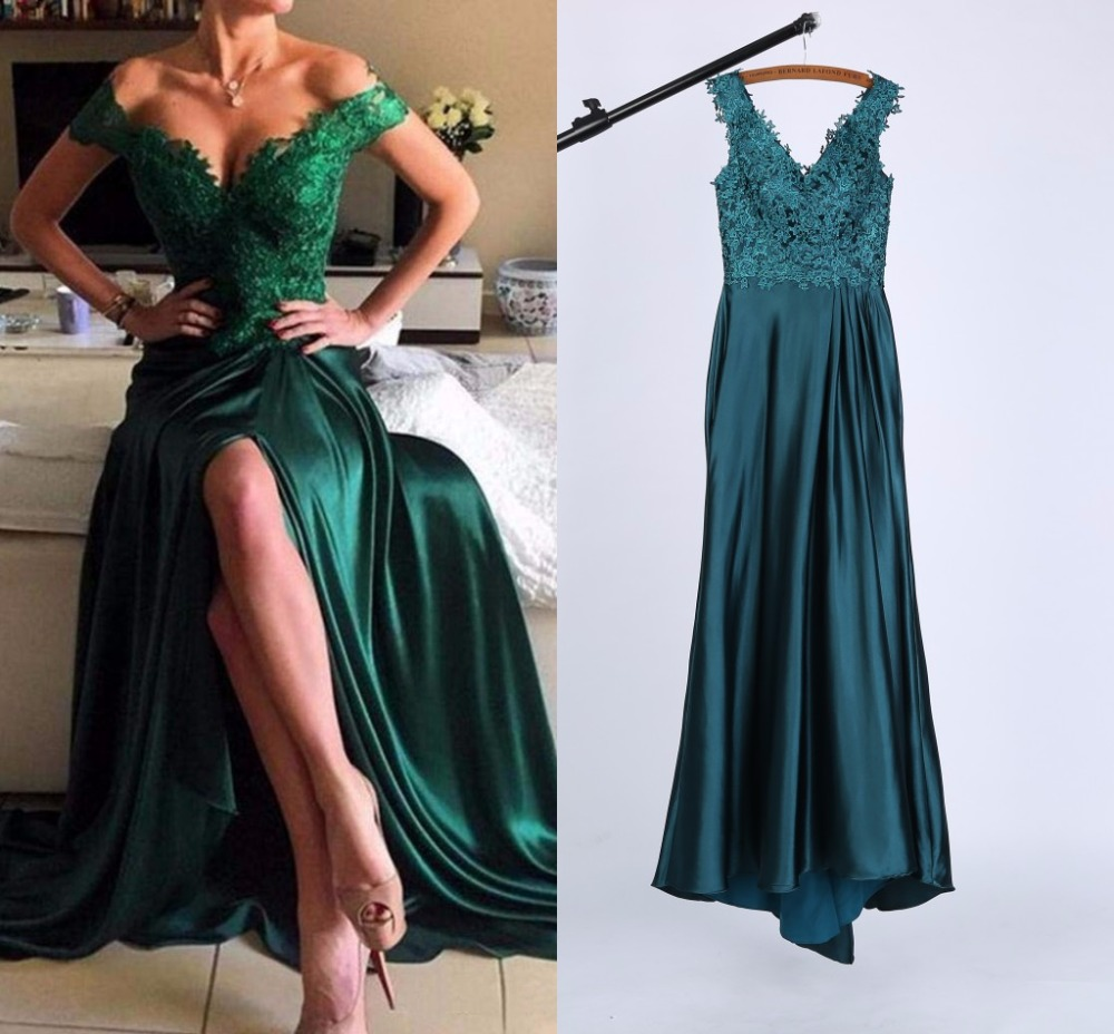 2017 Real Photo Long Evening Dress Wear Emerald Green Off The Shoulder Sexy Lace Appliques Split Side Formal Prom Party Gowns