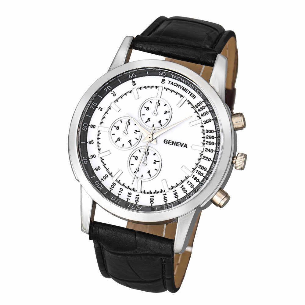 Geneva hombres diseño de negocios Dial banda de cuero reloj de pulsera de cuarzo analógico creativo Erkek Saat Erkek Kol Saati relogia Masculino