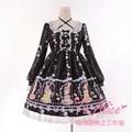 Lindo Conejo postre Buny OP Lolita Vestido de Hada Kei Largo Arcos de Lujo Cruz Lazo de Encaje de manga Vestido de Dolly Rosa, negro, verde