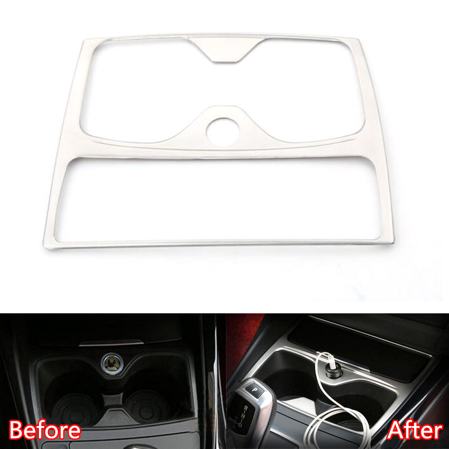 YAQUICKA Stainless Steel Car <font><b>Interior</b></font> Water Cup Holder Frame Trim Sticker For <font><b>BMW</b></font> 1 series F20 <font><b>116i</b></font> 118i LHD Car-covers Styling image
