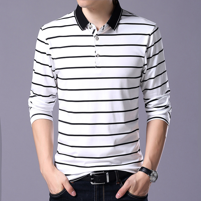 Striped Polo Shirt Men 2019 Spring 95% Cotton Men's Polo Shirt Long Sleeve Mens Casual Shirt Mens Turn Down Collar Polos