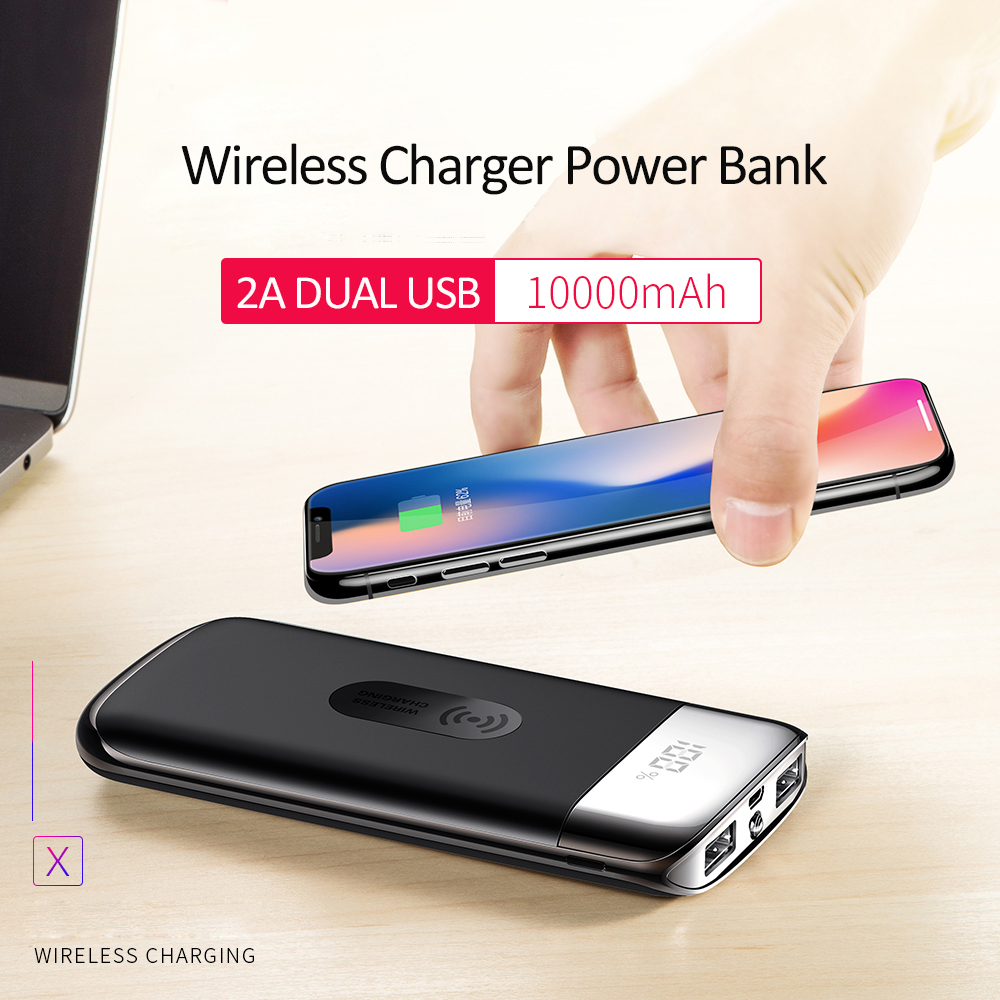 LCD 10000mAh QI Wireless Charger 2A Dual USB Power Bank For iPhone X 8 Samsung S9 External Battery Charger Wireless Charging Pad