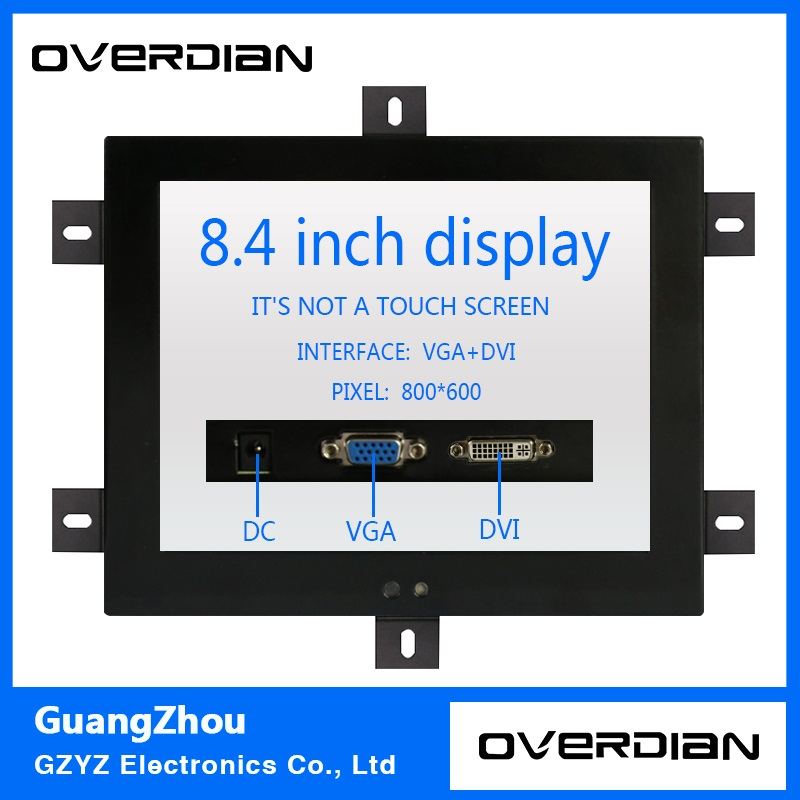 8.4/8inch Non-Touch Industrial Control Lcd Monitor/Display VGA/DVI Interface Metal Shell Fixed Ear Installation 4:3 8 8 4 inch vga dvi interface non touch industrial control lcd monitor display metal shell buckle card installation 4 3