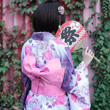 Japanese Traditional 100% Cotton Kimono with Obi Japan Flower Bathrobes Women Yukata Sleepwear Bath Robe 012703