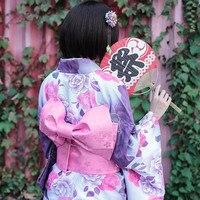 Japanese Traditional 100% Cotton Kimono with Obi Japan Flower Bathrobes Women Yukata Sleepwear Bath Robe 012703