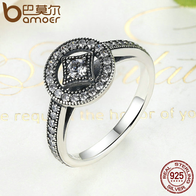 Sterling Silver Vintage Allure Clear CZ Ring