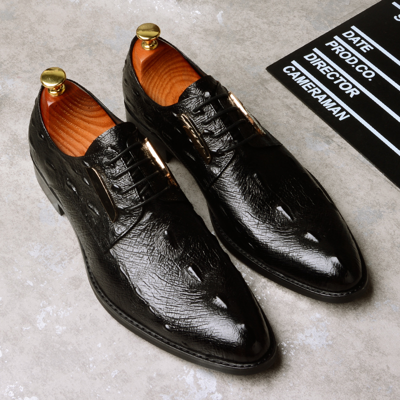 Summer Men Dress Shoes Genuine Leather Shoes Breathable Crocodile Pattern British Style Men Shoes Causal Business Shoes men s dress shoes crocodile pattern british work shoes men s business shoes elegant fashion shoes with suit