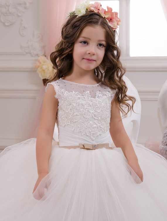 2019 бальное платье для Святого Причастия платья женщин белые платья с цветочным узором для девочек свадьбы кружево с аппликацией и бисером Пышное