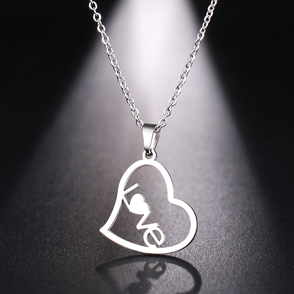 DOTIFI Stainless Steel Necklace For Women Man Hollow Love Heart Gold And Silver Color Pendant Necklace Engagement Jewelry