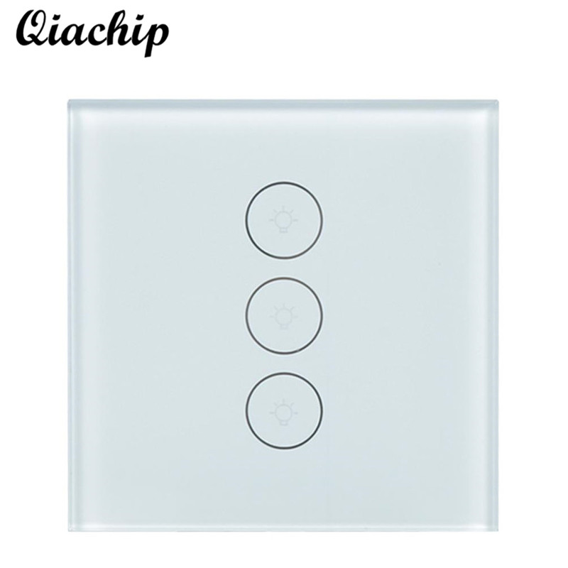 QIACHIP UK Plug 3 CH WiFi Wireless Smart Home APP Control Touch Switch Work With Amazon Alexa Wall Control Switch Light LED Lamp wireless wifi switch smart home automation module timer diy light wall switch app control work with amazon alexa voice control
